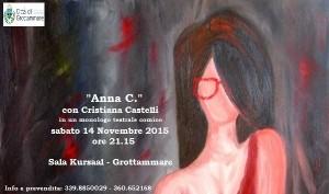 """""""Anna C."""", monologo con Cristiana Castelli al Kursaal di Grottammare sabato 14 novembre"""