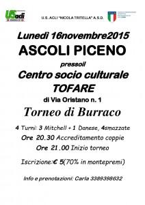 Ascoli Piceno, torneo di burraco al Centro socio culturale Tofare