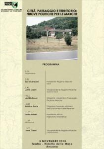 """Manifesto convegno """"Città, paesaggio e territorio: nuove politiche per le Marche"""""""