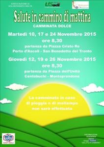 """""""Salute in cammino di mattina – Camminata dolce"""", dal 10 novembre ogni martedi a Porto d'Ascoli e ogni giovedì a Centobuchi"""