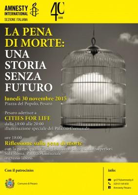 Pesaro, il palazzo del Comune si illumina contro la pena di morte
