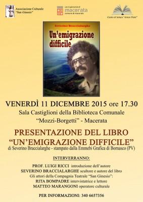 """Libri: Severino Braccialarghe presenta a Macerata """"Un'emigrazione difficile"""""""