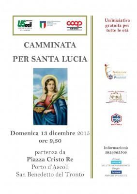 """San Benedetto del Tronto, domenica 13 dicembre la """"Camminata per Santa Lucia"""""""