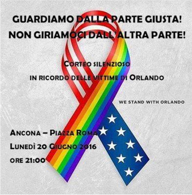'We Stand with Orlando', corteo silenzioso a Ancona in memoria delle vittime della strage