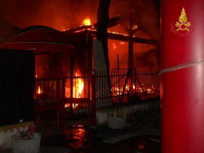 Incendio in night Corridonia