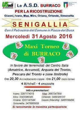 Le ASD Burraco per la ricostruzione, a Senigallia il 31 agosto a favore dei terremotati