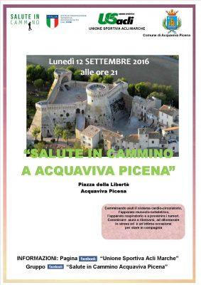 """""""Salute in cammino"""" ad Acquaviva Picena, si parte lunedì 12 settembre da Piazza della libertà"""
