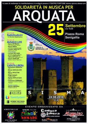 """Solidarietà in musica per Arquata"" 25-09 a Senigallia"