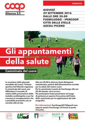 """Ascoli, una camminata per la """"Giornata mondiale del cuore"""" il 29 settembre"""