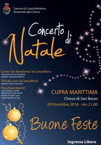 Concerto di Natale Cupra Marittima 29 dicembre 2016