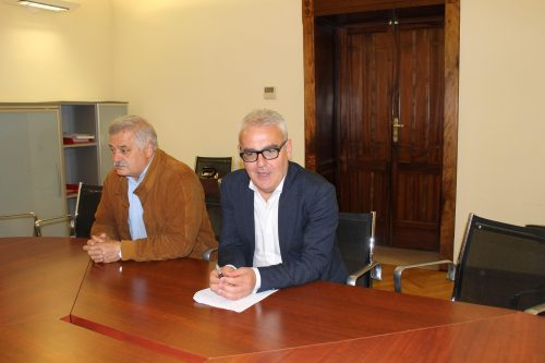 Il sindaco Romano Carancini e l'assessore allo Sport Alferio Canesin durante la conferenza stampa di oggi pomeriggio