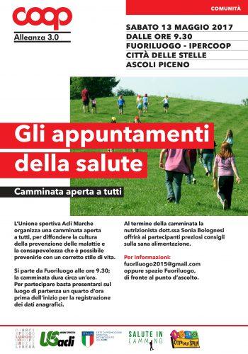 """Sabato 13 maggio il progetto nazionale """"Alimentazione, sport e salute"""" fa tappa ad Ascoli Piceno"""