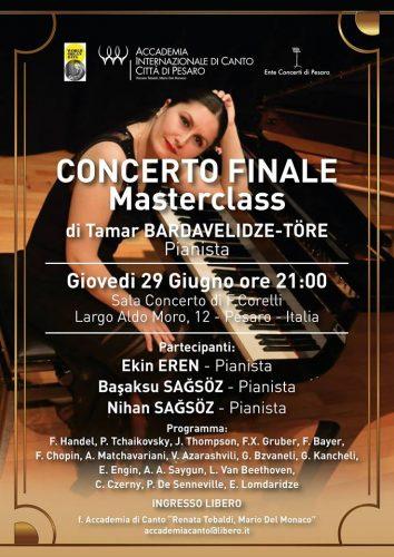 Pesaro, concerto finale per il Masterclass della pianista Tamar Bardavelidze-Tore