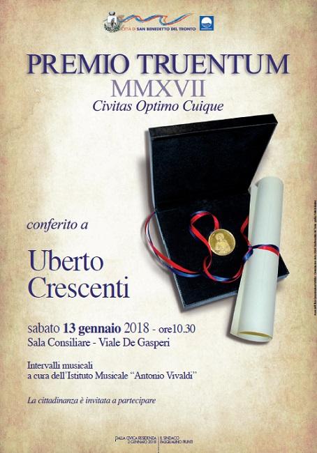 """San Benedetto, il 13 gennaio premio """"Truentum"""" 2017 a Crescenti"""