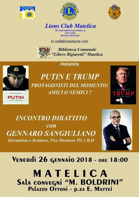 Gennaro Sangiuliano a Matelica per parlare delle figure di Putin e Trump