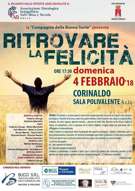 """""""Ritrovare la Felicità"""", il 4 febbraio torna in scena a Corinaldo"""
