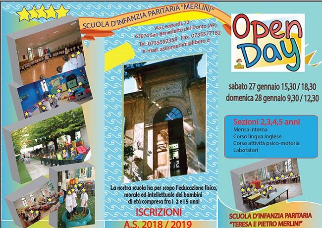 San Benedetto: il 27 e 28 gennaio Open Day all'asilo Merlini