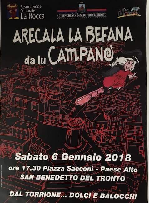 Arecala la Befana da lu Campanò il 6 gennaio a San Benedetto