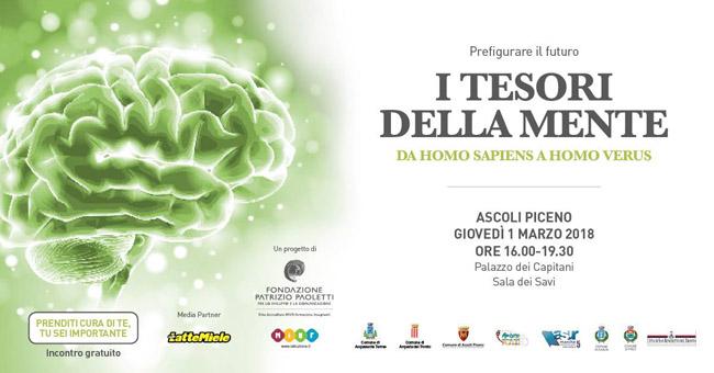 """""""I tesori della mente"""": il primo marzo a Palazzo dei Capitani Ascoli"""