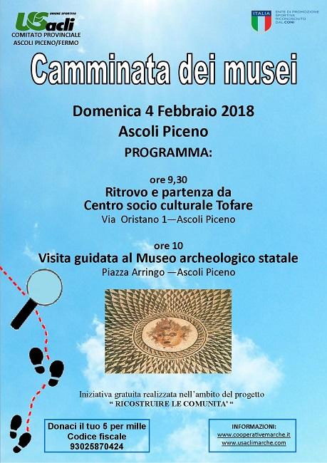 4° Camminata dei musei: il 4 febbraio prima tappa a Ascoli