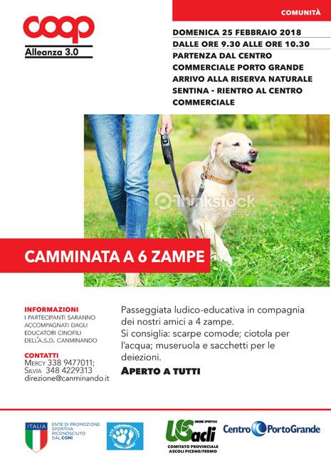 """""""Camminata a 6 zampe"""" il 25 febbraio a San Benedetto"""