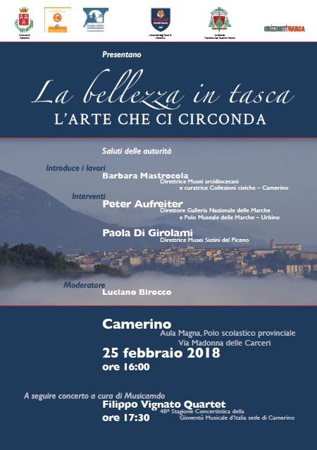 La bellezza in tasca: incontro e concerto oggi a Camerino