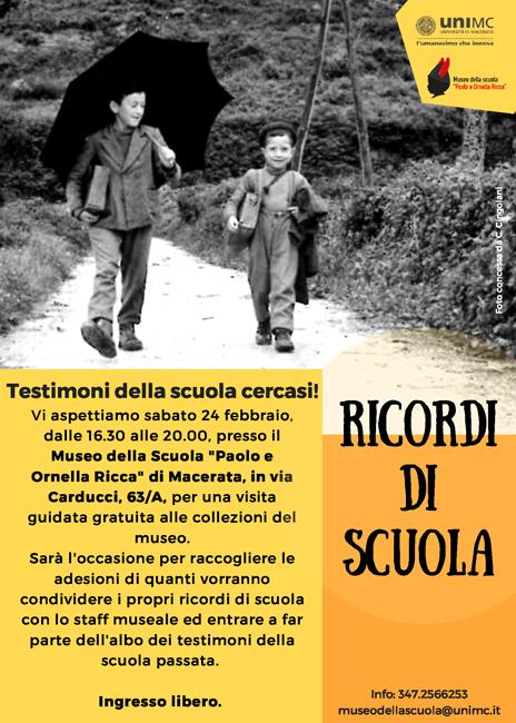 """Macerata, """"Ricordi di scuola"""": il 24 febbraio visita gratuita al museo"""