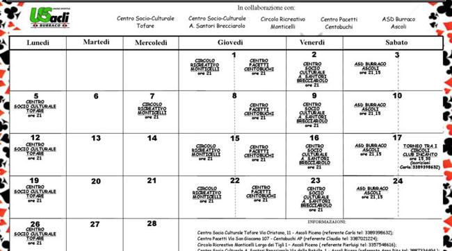 Ascoli, burraco: calendario dei tornei per febbraio 2018