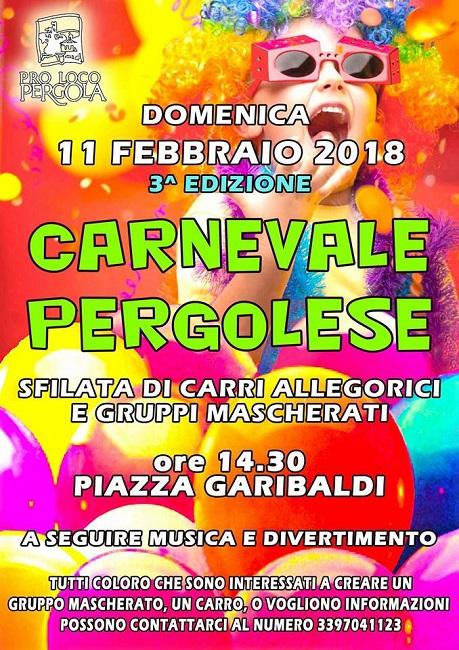 Carnevale 2018 a Pergola: tra carri, musica e divertimento