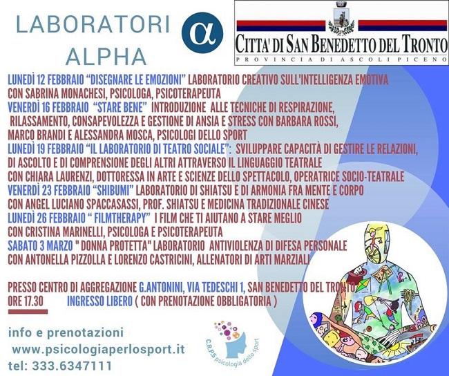 San Benedetto, dal 12 febbraio al via i laboratori Alpha