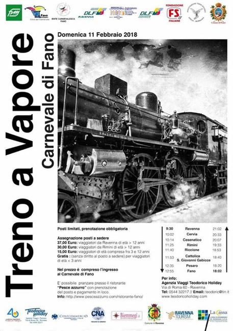 Pesaro: domenica al Carnevale di Fano sul treno a vapore