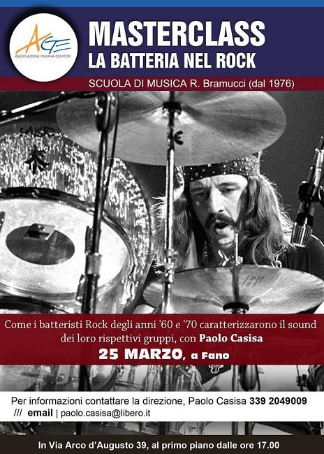 La batteria nel Rock, masterclass il 25 marzo a Fano