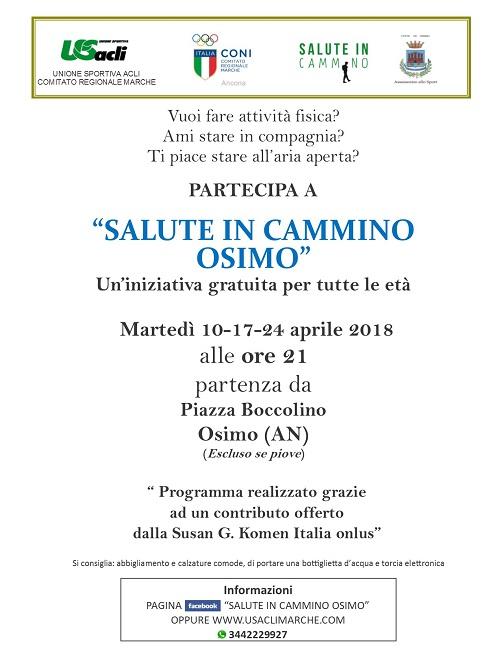 Salute in cammino 10 aprile riparte Osimo
