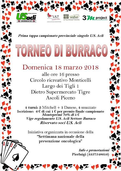 Ascoli, torneo di Burraco il 18 marzo al Circolo Monticelli