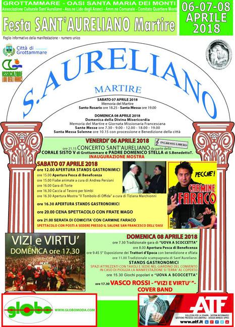 Programma Festa San Aureliano 2018