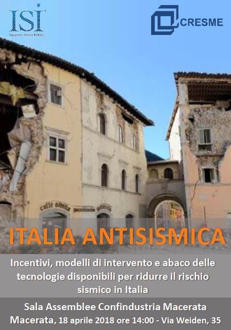 Italia Antisismica, convegno Cresme e ISI il 18 aprile a Macerata